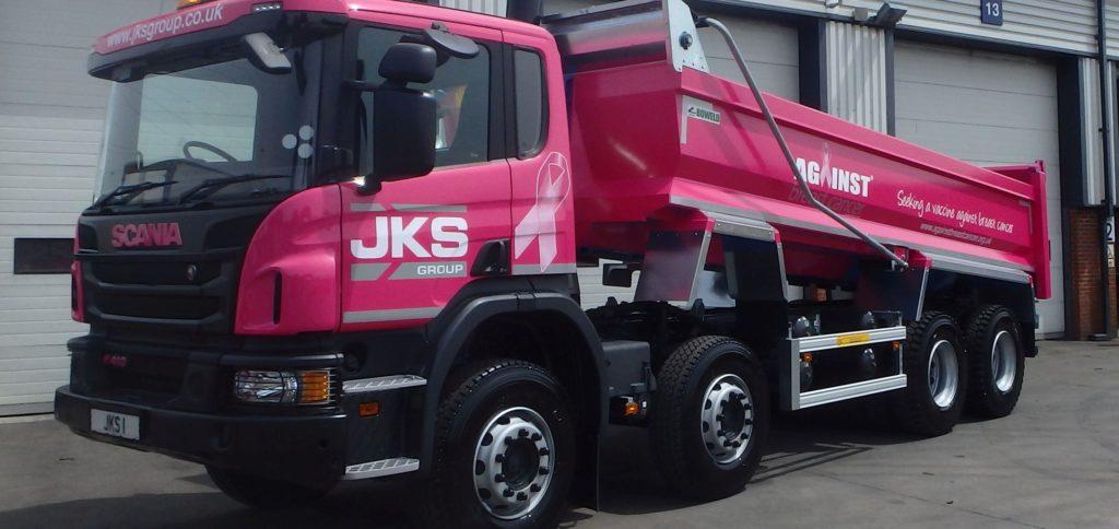 JKS Group pink tipper truck