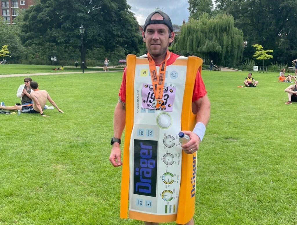 Kieran's world record attempt, running the London Marathon as a piece of medical equipment