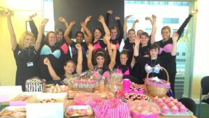 Helen's students, part of 10,000 bras collected.